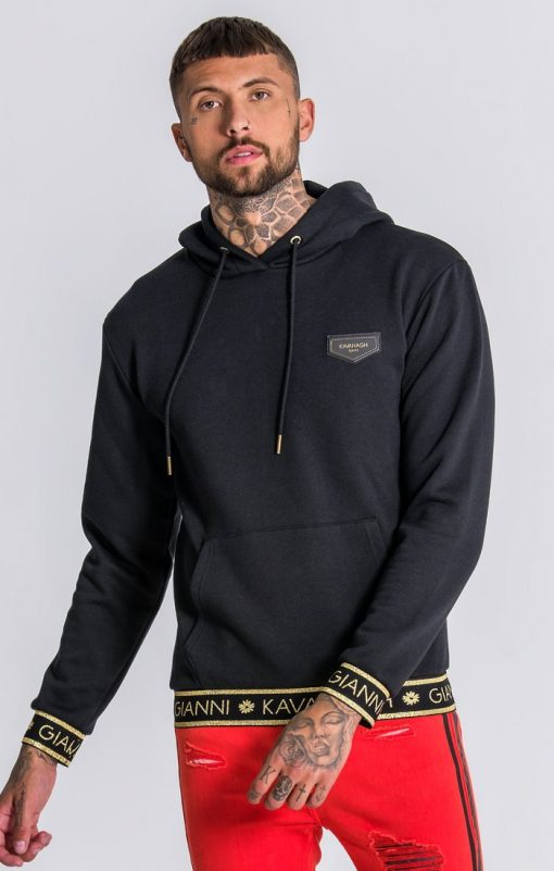 GIANNI KAVANAGH Black Hoodie With GK Gold Lurex Elastic Gianni Kavanagh Gianni Kavanagh