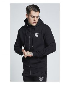 SikSilk  Muscle Fit Zip Through Hoodie – Black SALES Siksilk