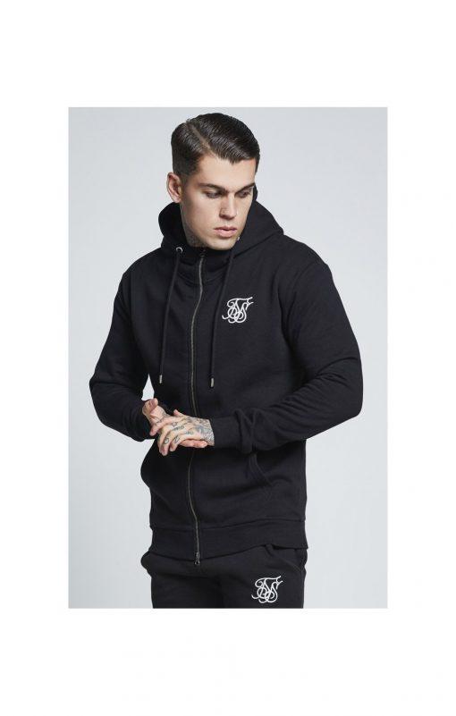 SikSilk  Muscle Fit Zip Through Hoodie – Black SALES Siksilk