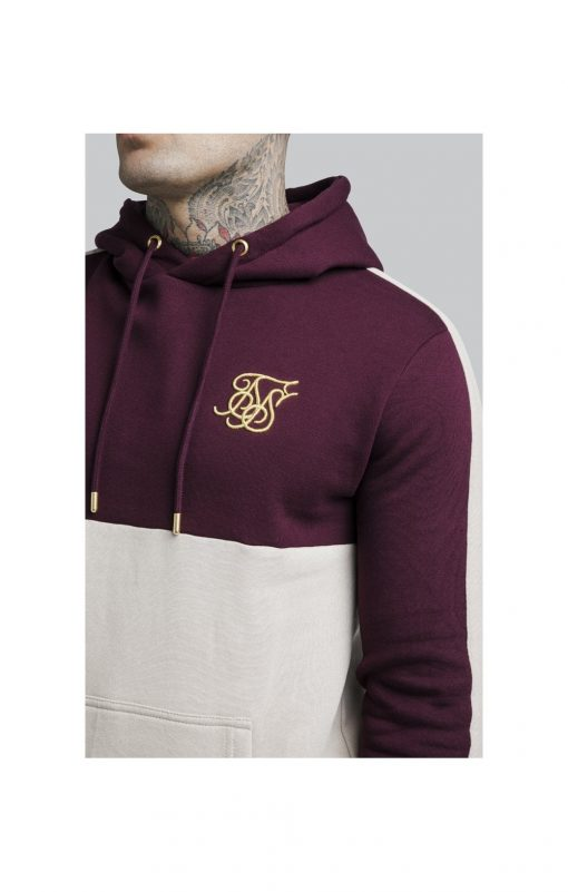 SikSilk  Cut and Sew Taped Overhead Hoodie – Burgundy & Cream SALES Hoodie