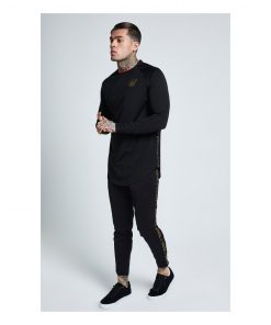 SikSilk  Performance Crew Sweat – Black & Gold SALES Longsleeve T-shirt