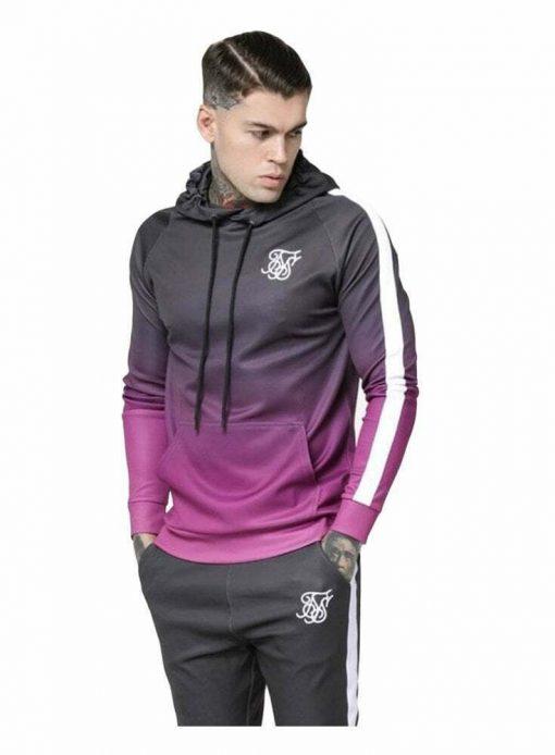 SikSilk  Vapour Fade Overhead Hoodie – Grey & Pink Siksilk hoody