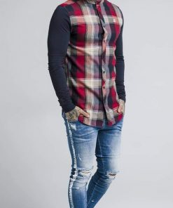 SikSilk L/S Flannel Grandad Shirt – Navy & Red SALES shirt