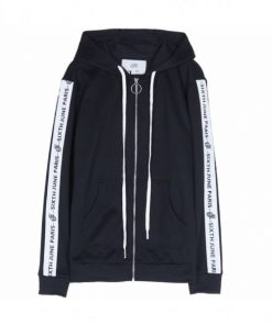 Sixth June text stripe Hoodie black JACKETS Track Jacket