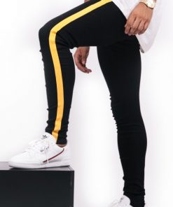 Sixth June yellow side stripe Jeans black